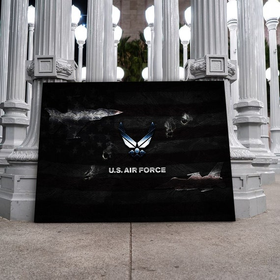 U.S. Air Force, Military Families, USA Home Decor Wall Art   Canvas Wall Art   Modern Art Canvas, Patriotic Service, Framed Ready-To-Hang