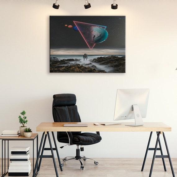 3D Portal New Modern Art, Printable Wall Art, Classroom Decor, Space, Moon, Astrology Canvas Art, Astronaut Bedroom, Framed Ready-To-Hang