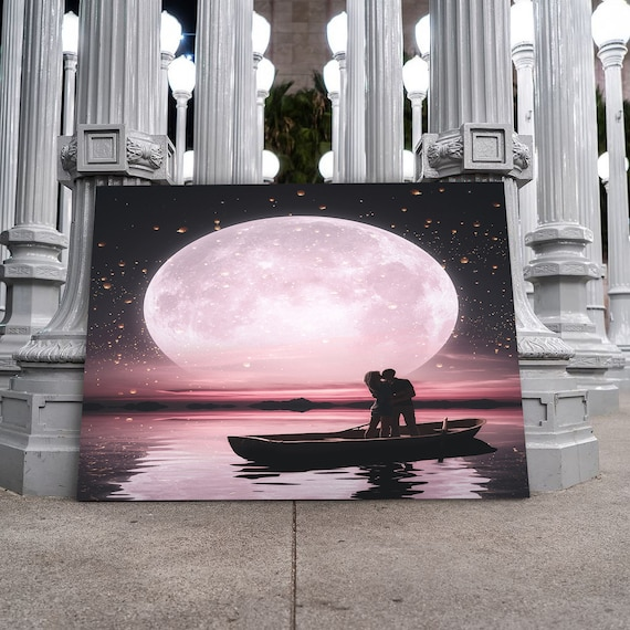 Immense love.. Couple boating full moon. The best him and her romantic valentines day gift. Custom &Loving home decor, Framed Ready-To-Hang