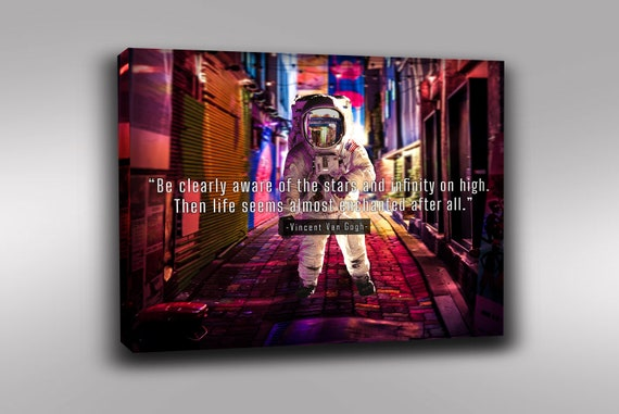 Vincent Van Gogh Artist Quoted Framed Wall Art,  Enchanted | Gift for him | Astronaut Gift! Printable wall art, Framed Ready-To-Hang