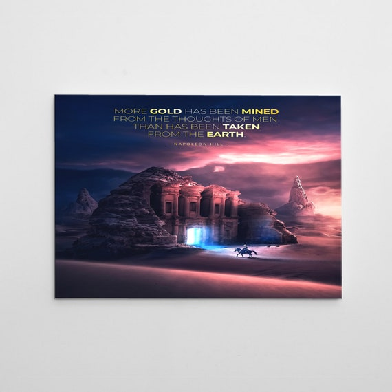 Surreal Abstract Art 'Alladins Fortune'- Large Modern Wall Art On Canvas, 'Hidden Treasure' Quote Illustration Concept Art By Napoleon Hill