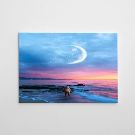 SPACE ART - ABSTRACT Art - Framed Canvas Art - Alone Astronaut, Astrology Home Décor Art - Above Bed Art, Framed Ready-To-Hang