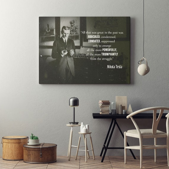 Personalized gift | wall art home decor | personalized art print, wall decor, Nikola Tesla personalized canvas, mens gift art print