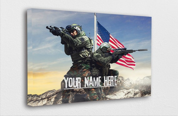 Custom Patriotic Print, American Wall Decor, Home Decor, Military Artwork, Art Print, Handmade, CANVAS WITH Wooden Frame, Made in the USA