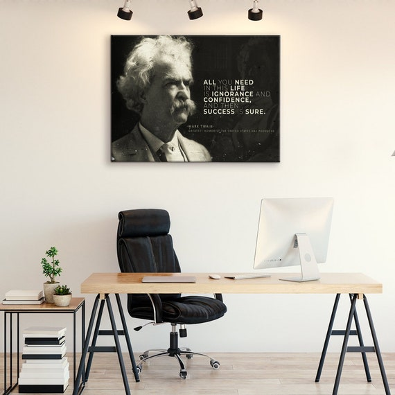 Mark Twain Quote Humorist Motivational Success Canvas Wall Art, Motivational Collection for Library, Classroom, Framed Ready-To-Hang