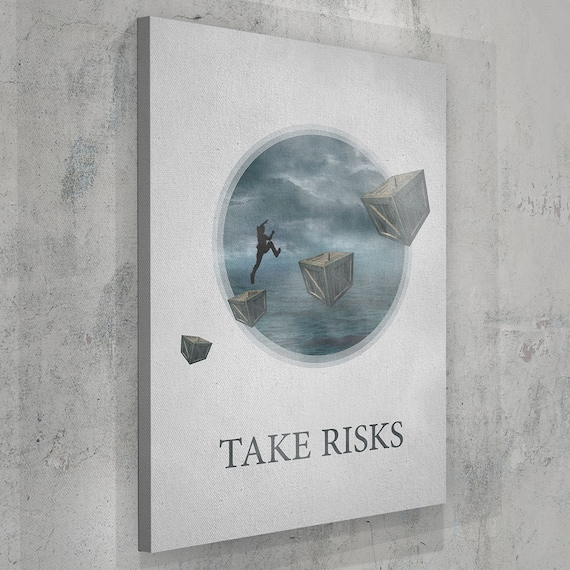 Take Risks MOTIVATIONAL ART, Inspirational Wall Art Print, Motivational Quote Canvas, Motivational Gift, Wall Art, Framed Ready-To-Hang