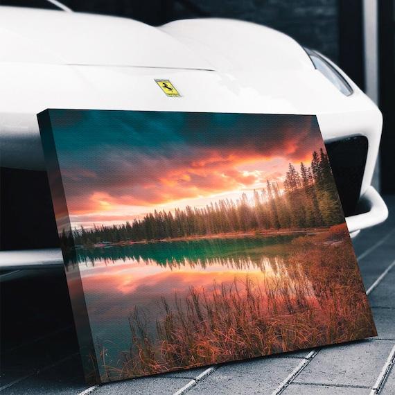 The Calm Water Sunset, Colorado Art Print, Nature Mountain Outdoor Photography Canvas Print, Colorado Gifts, Framed Ready-To-Hang- Mountain