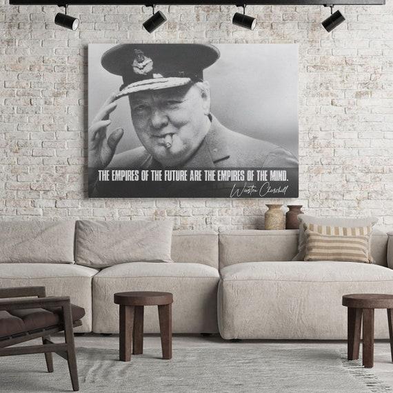 QUOTATION ART - PRESIDENT Art – Motivation Winston Churchill Quotes Art - Black White Art - Canvas Print, Framed Ready-To-Hang