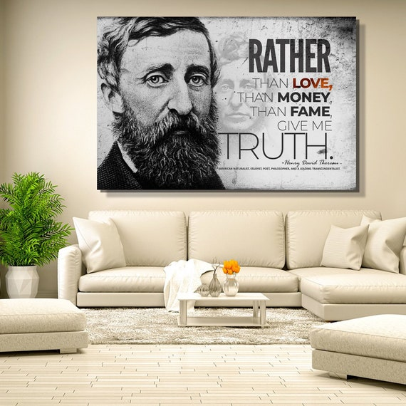 Henry David Thoreau Truth Quote On Large Wall Art Canvas, Farmhouse decor, Walden by Thoreau, Library, Office Decor, Framed Ready-To-Hang