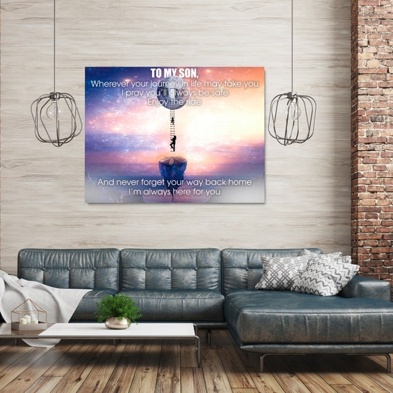 Gift For My Son   Home Decor Wall Art   Inspiration Wall Art For Kids Room   Canvas Wall Art   Gift To Son About Life, Framed Ready-To-Hang
