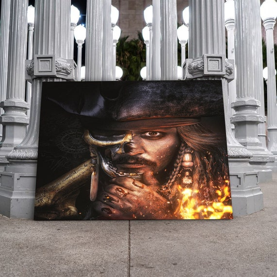 Jack Sparrow Art Print • Most Epic Kids Bedroom Decor Gift, Office Decor, Famous Pirates of the Caribbean, Framed Ready-To-Hang
