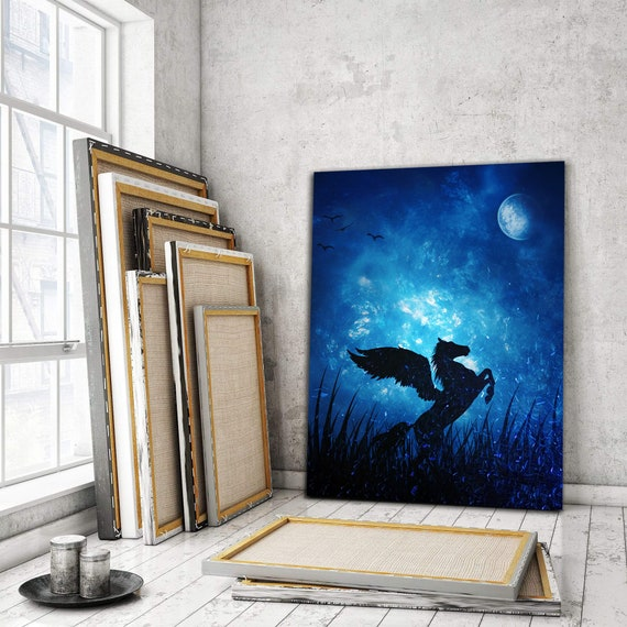 Pegasus - The Mystical Horse Art | Amazing Blue Wall Decor | Home Decor | Kids Gift | Kids Art For Bedroom Ideas | Canvas Ready-To-Hang