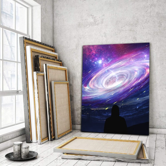 Wall Art 'Galaxy' Abstract Inspirational Wall Art | Gem Artwork Made For Kids, For Office, Personalized Gift Canvas, Framed Ready-To-Hang