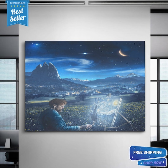 Vincent Van Gogh | The Starry Night (1889) - Vincent Van Gogh Canvas Print | Vincent Van Gogh | The Starry Night, Framed Ready-To-Hang