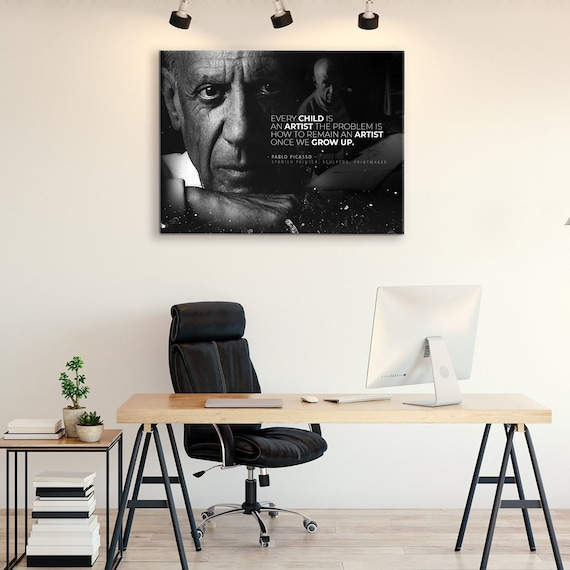 MOTIVATIONAL ART - ILLUSTRATION Art - Quotes Printed Pablo Picasso Dreamer Artist Gift - Office Art -Wooden, Framed Ready-To-Hang Picasso