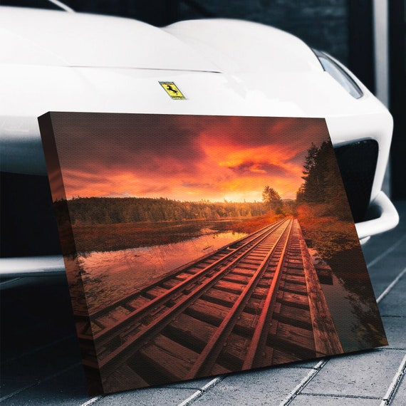 Train Railway Over Water & Sunset Canvas Print Wall Art, Scenic Landscape, Lake, River - Giclee Home Art Decor, Framed Ready-To-Hang