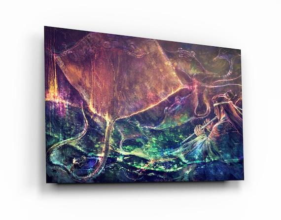 Manta Ray Tempered Glass Printing Wall Art , Natural And Vivid Wall Decor , Modern Wall Art, Extra Large Wall Art, Spirit Angels. Fine Art
