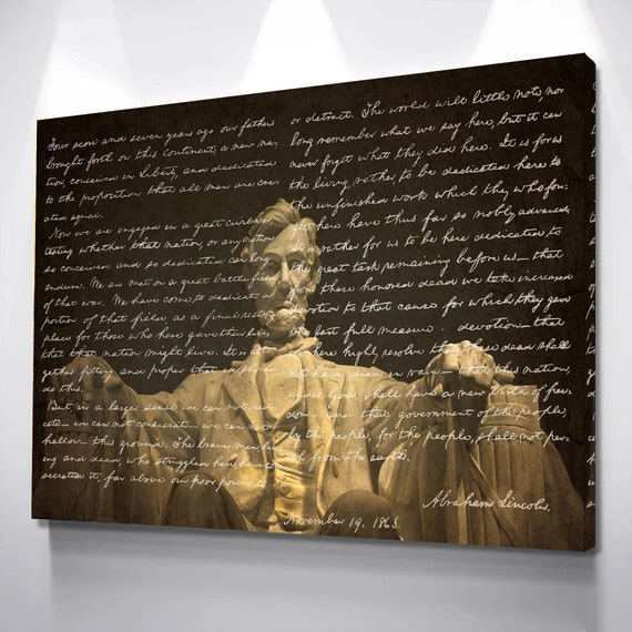 Gettysburg Address- Patriotic Print USA Ready-To-Frame Art Print Poster, Abraham Lincoln Quote, Abraham Lincoln, Framed Ready-To-Hang