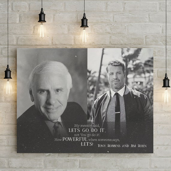 Wall Art Gift For Men | Gift For Him | Personalized Gift Printable Wall Art Illustration - Jim Rohn and Tony Robbins, Framed Ready-To-Hang