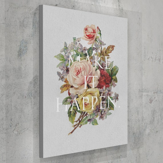 Make It Happen In Life Quote | Home Typography Decor Canvas Art | Inspirational Wall Art Home Decor, Framed Ready-To-Hang