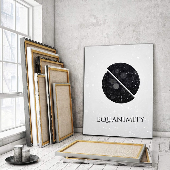 "Modern Office Decor, ""Equanimity"" Inspirational and Abstract Canvas Art Home Decor, Framed Ready-To-Hang"