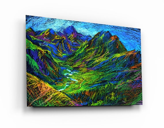 Premium Glass Wall Arts - Mountain Wall Art - Housewarming Gift - Exclusive Home Decor - Glass Art - Wall Art - Interior Design - Home Decor