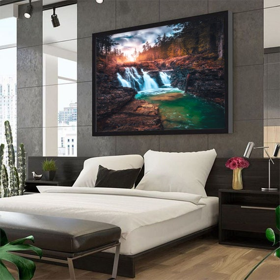 Waterfall Art Canvas | Natural Landscape | Nature Prints | Landscape Painting | Waterfall | Large Wall Art | Luxury, Framed Ready-To-Hang