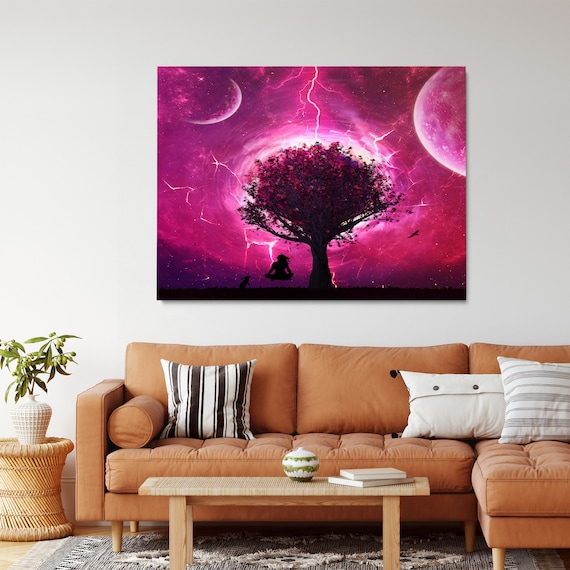 Tree And Lightning Art / Personalized Wall Art Home Decor/ Gift For Men, Gift For Her • Framed Ready-To-Hang Abstract Art Made in U.S.A.