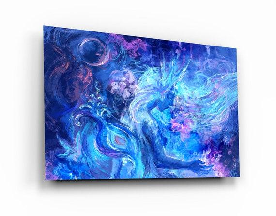 Premium Glass Wall Arts - Blue Guardian Angels - Housewarming Gift - Exclusive Home Decor - Glass Art - Wall Art - Interior Design, Spirit.