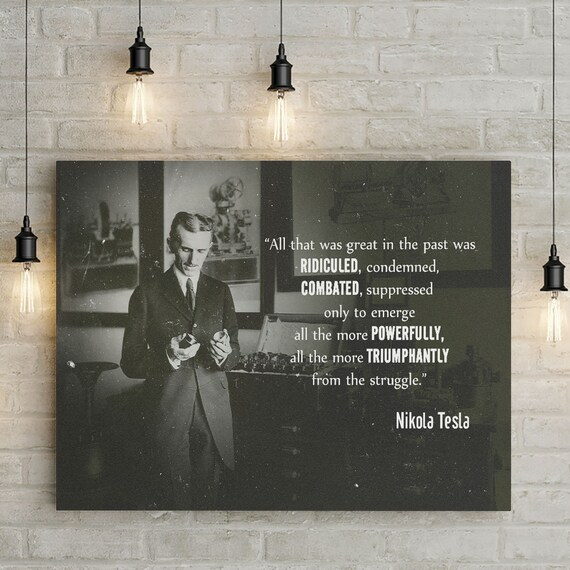 Personalized gift | wall art home decor | personalized art print, wall decor, Nikola Tesla personalized, Framed Ready-To-Hang