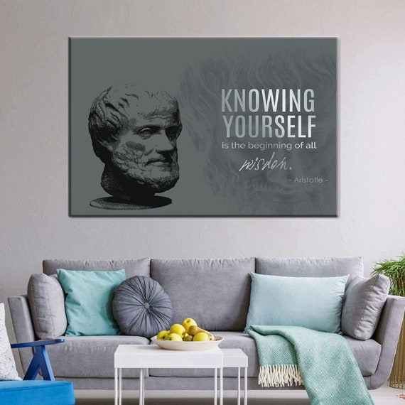 Aristotle | Vintage Wall Art, Antique Wall Art, Historic Quote Art, Motivation Wall Art | Large Canvas | New Office, Framed Ready-To-Hang