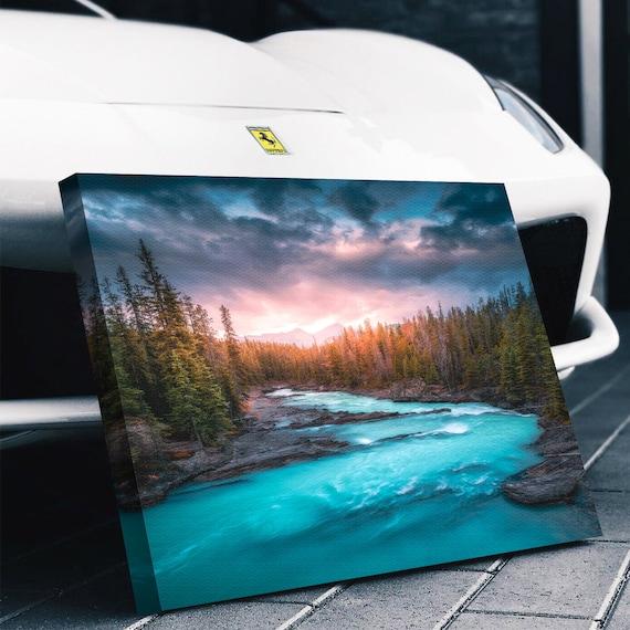 RIVER WALL ART - Giclee Print Art - Sparkling River Art Canvas - River House Décor - Reflection Lake River Art, Framed Ready-To-Hang