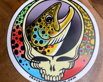 Steal Your Face Brown Trout / Trout Trio Vinyl Fly Fishing Trout sticker