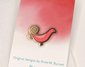 Enamel Pin - Pink Plumed Bird, Colorful Enamel Pin, Lapel Pin, Gold Finish, Gift, Gift for Her, Mother's Day Gift, Friend Gift, Scarf Pin