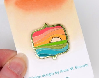 Enamel Pin - Sunrise, Colorful Enamel Pin, Lapel Pin, Gold Finish, Gift, Gift for Her, Bridesmaid Gift, Mother's Day Gift, Friend Gift