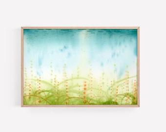 Meditative/Peaceful Underwater Abstract Watercolor in Teal/Aqua, Green and Orange | Watercolor Print | Wall Art | Nursery Decor | Wall Decor