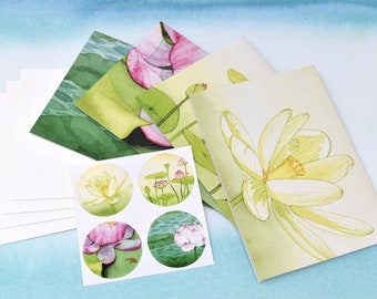 Stationery & Sticker Set #3--4 unique cards, matching stickers, and envelopes | Greeting Cards | Blank Cards | Note Cards | Watercolor Art