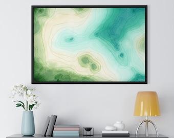 Framed Topography Watercolor & Ink Print | Watercolor Print | Wall Art | Office Decor | Wall Decor | Beachy Decor | Beachy Art