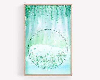 Peaceful Underwater/Botanic Aqua, Teal, and Green Abstract Watercolor & Ink Print | Watercolor Print | Wall Art | Office Decor | Nursery Art