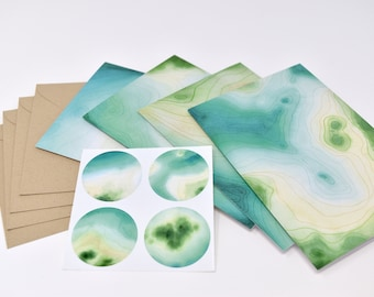 Stationery & Sticker Set--4 unique cards, matching stickers, and envelopes | Greeting Cards | Blank Cards | Note Cards | Watercolor Art