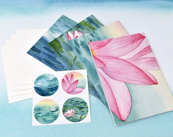 Stationery & Sticker Set #2--4 unique cards, matching stickers, and envelopes | Greeting Cards | Blank Cards | Note Cards | Watercolor Art