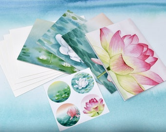 Stationery & Sticker Set #1--4 unique cards, matching stickers, and envelopes | Greeting Cards | Blank Cards | Note Cards | Watercolor Art