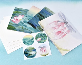 Stationery & Sticker Set #4--4 unique cards, matching stickers, and envelopes | Greeting Cards | Blank Cards | Note Cards | Watercolor Art