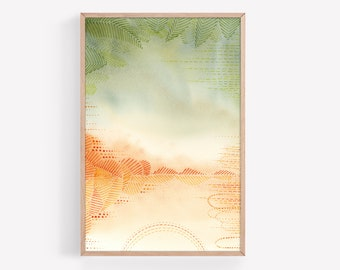 Boho Green and Orange Abstract Watercolor & Ink Print | Watercolor Print | Wall Art | Office Decor | Earthy Decor | Wall Decor | Tropical