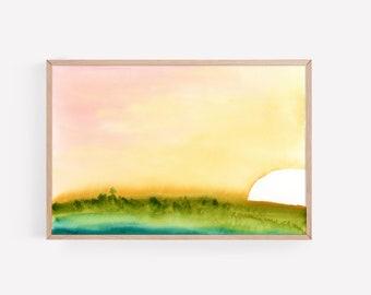 Boho Sunrise Watercolor Print | Wall Art | Office Decor | Nursery Decor | Wall Decor | Beachy Decor | Beachy Art