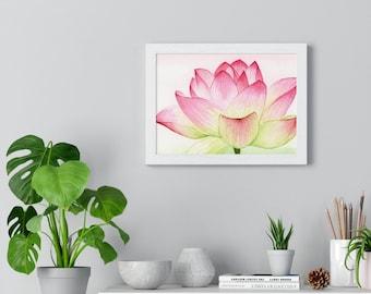 Framed Waterlily Watercolor Print (Frame Included) | Framed Art | Yoga Studio Art | Wall Art | Wall Decor | Birthday Gift