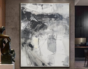 Black And White Abstract  Black Abstract Painting  Original Abstract Painting  Large Wall Canvas Painting  Oil painting for living room