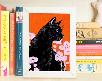 Custom Pet Illustration, Personalized Gift for Cat Lover, Pet Portrait, Cat Lady Gift Under 100, Linocut Style Wall Art Bold Statement Decor