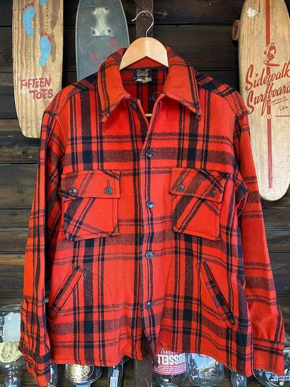1950's Vintage Woolrich Wool Flanned Red & Black S