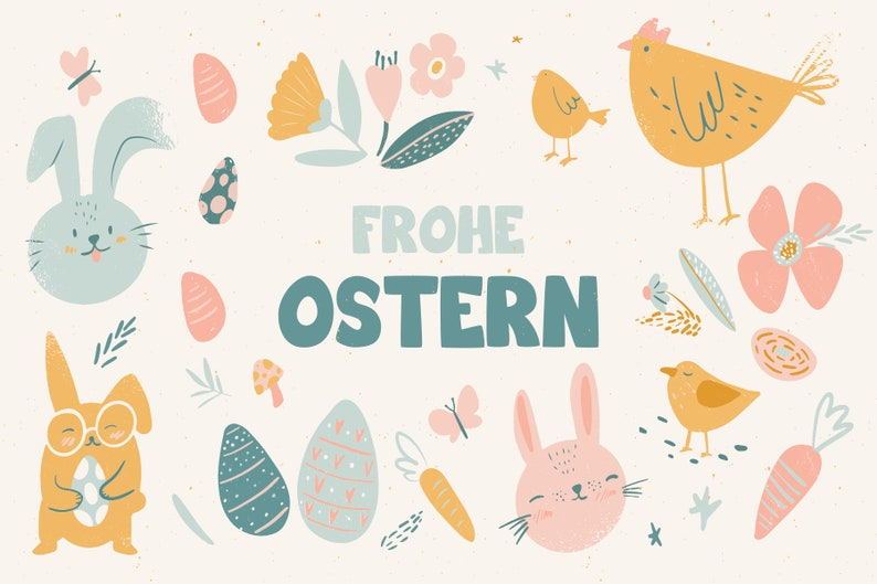 great card for family and friends in the format 4x6 back white without lines Card Happy Easter Chickens Postcard Easter Bunnies and Eggs